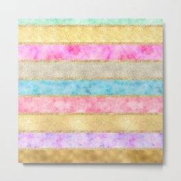 Pretty Gold Glitz Watercolor Stripes Metal Print