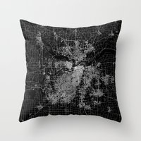 kansas city Throw Pillows featuring Kansas City map by Line Line Lines