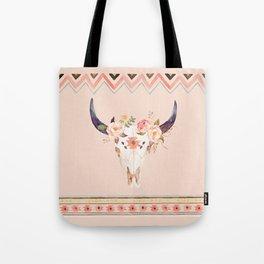 Bull Head Skull Boho Flowers Tote Bag