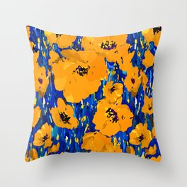 Wild Poppies — Orange Throw Pillow