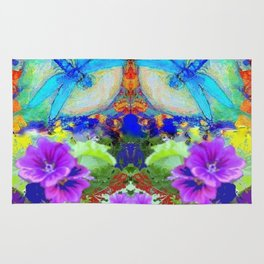 "BLUE ""ZINGER"" DRAGONFLIES  & PURPLE FLOWERS ART Rug"