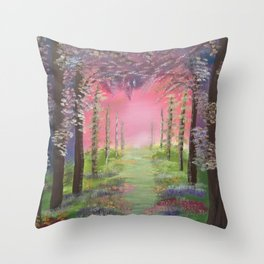 Into the path of Happiness Throw Pillow