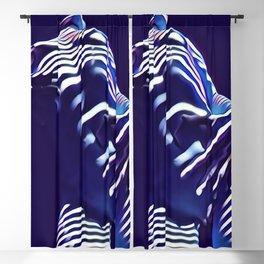 1570s-AK Sexy Blue Art Nude by Window Blind Blue Glow on Fit Body Blackout Curtain