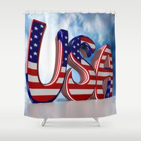 usa Shower Curtains featuring USA by Carlo Toffolo