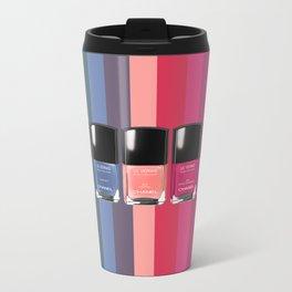 C-H-A-N-E-L Designer Nail Polish Print Metal Travel Mug