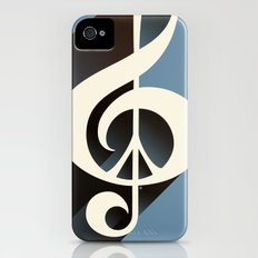 Steal Blue Retro Music & Peace Slim Case iPhone (4, 4s)
