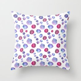 Watercolor blue & purple blots Throw Pillow