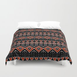 Mudcloth Style 2 in Black and Red Duvet Cover