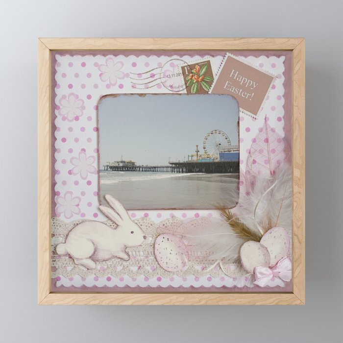 Happy Easter Santa Monica Pier Greeting Framed Mini Art Print