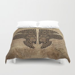Stone Aztec Twins Mask Illusion Duvet Cover