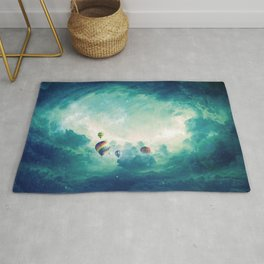Magnificent Fantasy Hot Air Balloons Rising In The Clear Sky Ultra HD Rug