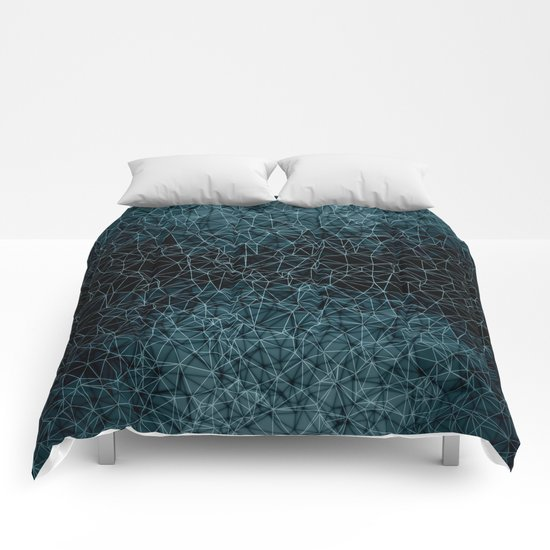 Polygonal blue and black Comforters