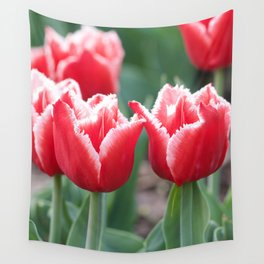 Strapy Red Tulips Wall Tapestry