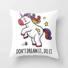 Unicorn Mindset objectives dreams colorful sweet g Throw Pillow