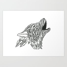 Feather Wolf Art Print