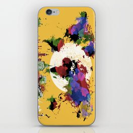 world map watercolor yellow iPhone Skin