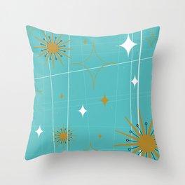 Atomic Burst Teal White and Gold Throw Pillow