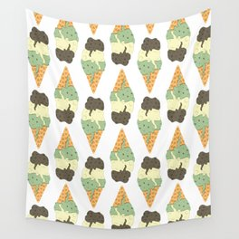 Mint-Vanilla-Chocolate Ice Cream Sundae Wall Tapestry