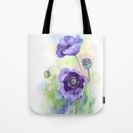 Watercolor blue poppy flowers Tote Bag