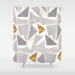 Modern Minimalist Gold Strokes Gray Triangles Shower Curtain