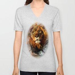 Water Color Splash Lion Unisex V-Neck