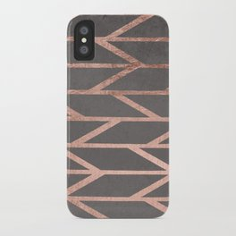 Rose gold chevron stripes geometric pattern on grey cement concrete iPhone Case
