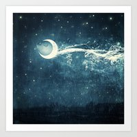river Art Prints featuring Moon River by Paula Belle Flores