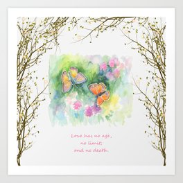 Butterflyes & Love quote Art Print