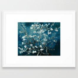 Van Gogh Almond Blossoms : Dark Teal Framed Art Print