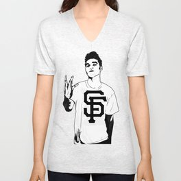 Panic on the streets of SF Unisex V-Neck