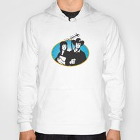 outdoor Hoodies featuring cowboy and girl holding aerial outdoor antennae by retrovectors