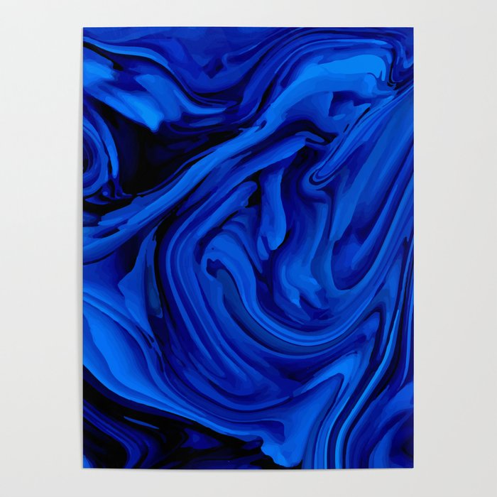 Blue Liquid Marbled texture Poster
