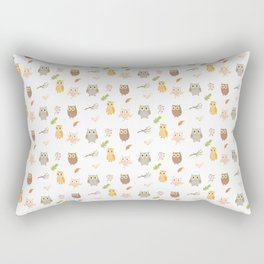 Cute Owls and Autumn Leaves Pattern Rectangular Pillow