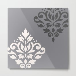 Scroll Damask Art I Cream & Grays Metal Print