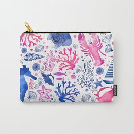 Hand painted blush pink blue watercolor nautical sea pattern Carry-All Pouch