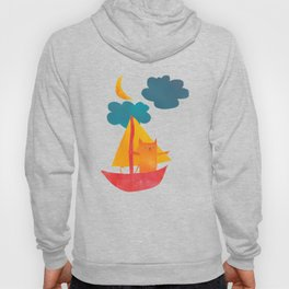 I Set Sea Under the Moonlight - A Cat and Boat and Moon. Hoody
