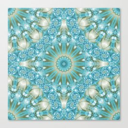 Turquoise and Gold Mandala Tile Canvas Print