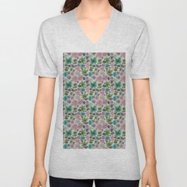 collection of succulents and their flowers Unisex V-Neck