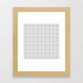 Black Interlocking Geometric Square Pattern on White Framed Art Print