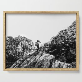 Boys Adventure | Rustic Camping Kid Red Rocks Climbing Explorer Black and White Nursery Photograph Serving Tray