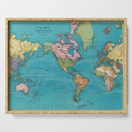 Vintage Map of The World (1897) Serving Tray