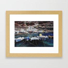 Boats in Ammoudi Harbor Framed Art Print