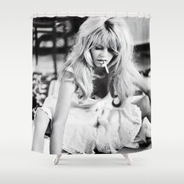 Brigitte Bardot Playing Cards, Black and White Photograph Shower Curtain
