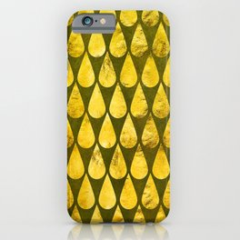 Gold Rain Drops Iridescent Glitzy Glam Pattern iPhone Case