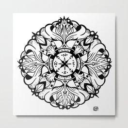 Compass Mandala Metal Print