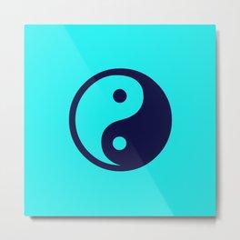 Harmony Yin Yang Navy Turquoise Metal Print