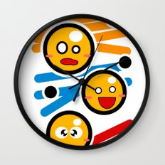 happy smiley trio Wall Clock