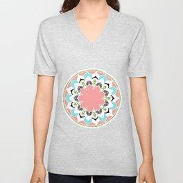 Mandala: White and Pink Unisex V-Neck