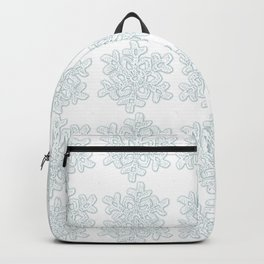 Crocheted Snowflake Ornaments - white on white with touch of teal Backpack