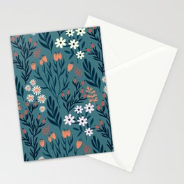 Beautiful Springtime Garden Daisy And Tulip Pattern Stationery Cards